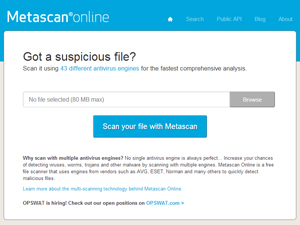 Metascan Online Screenshot