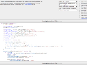 JavaScript Beautifier Screenshot
